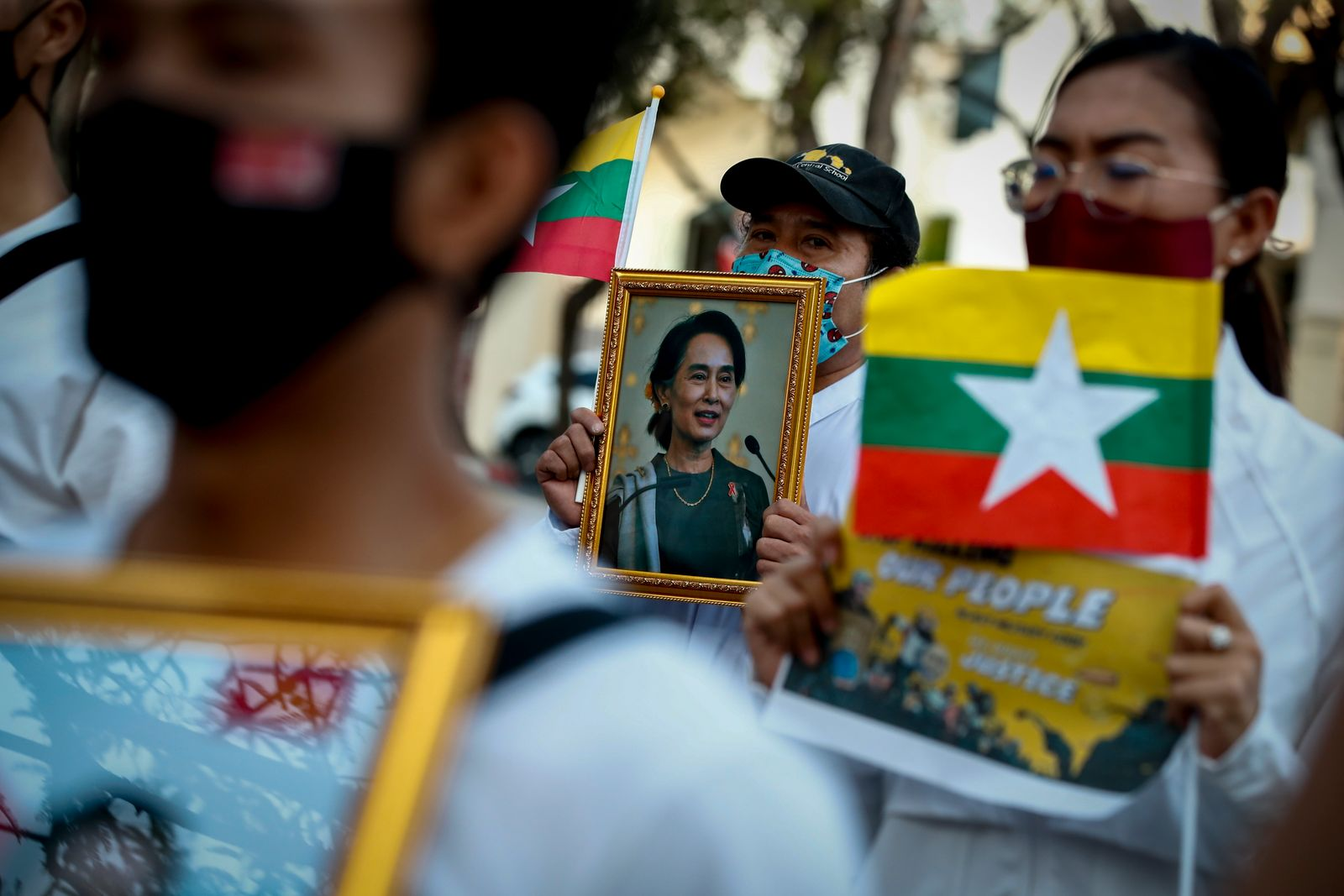 Protest against Myanmar's military coup in Bangkok