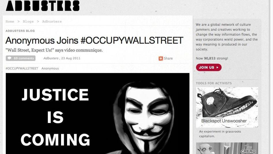 """""""Adbusters""""-Bericht über Anonymous-Unterstützung: Selbstgerechte Rächer"""