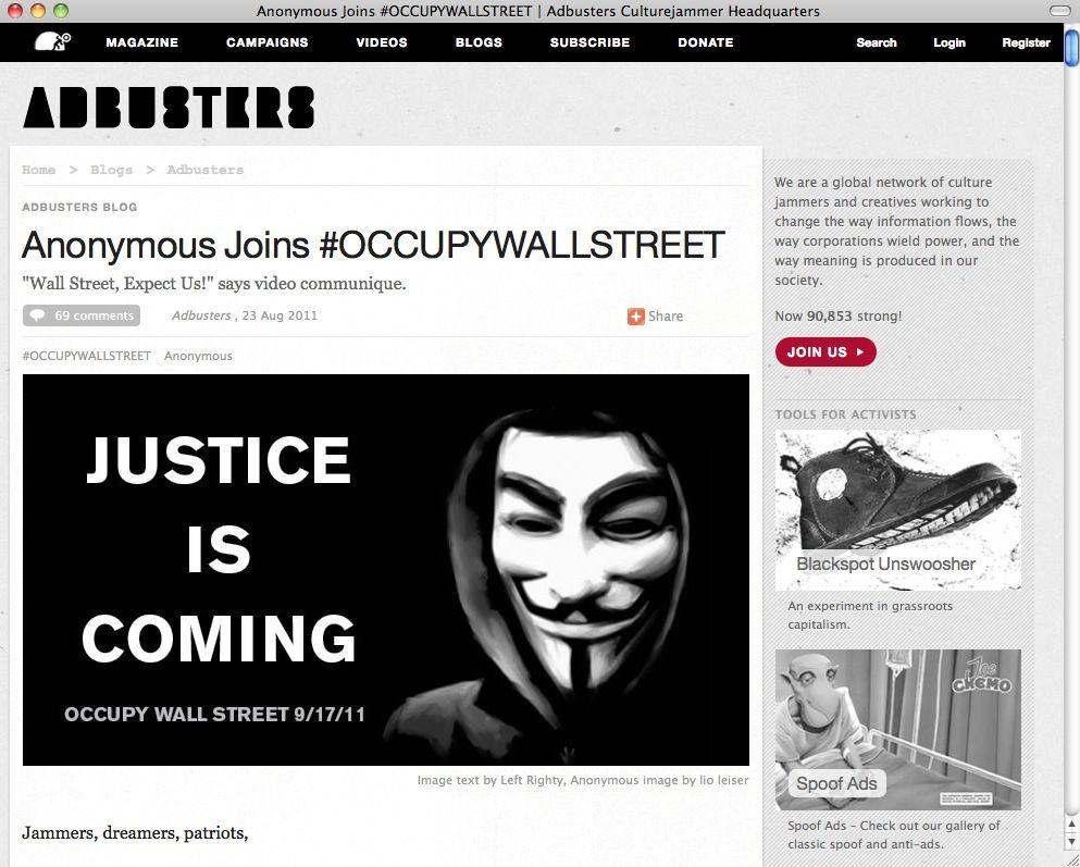 SCREENSHOT Anonymous / Abbusters / NETZWELT