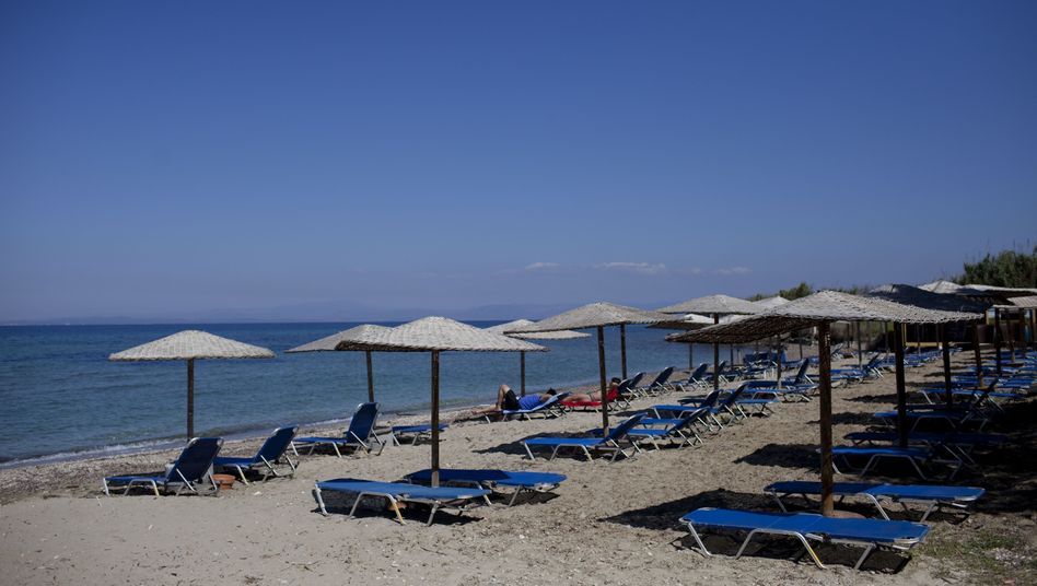 Empty sunbeds on the island of Lesbos.