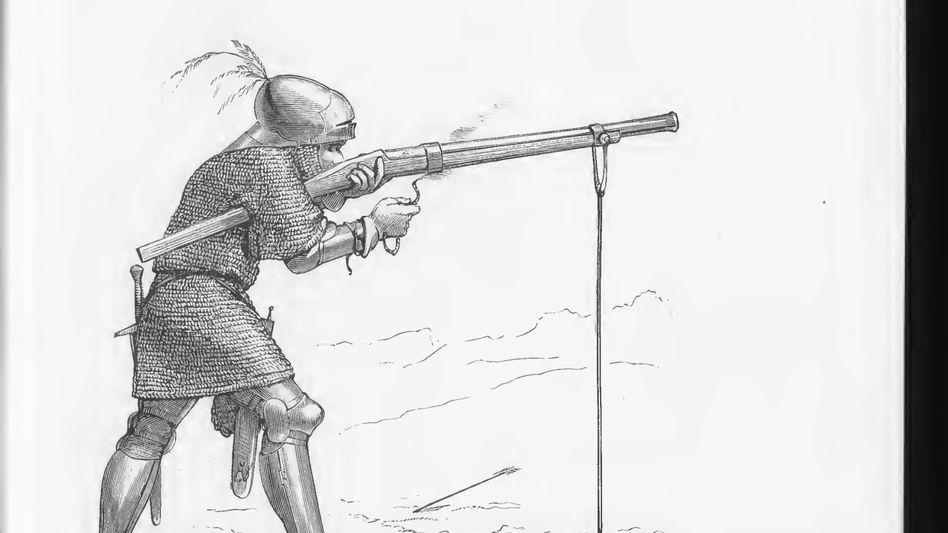 Überlegen: Anfangs mussten Gewehre aufgestützt werden (Zeichnung von 1875).
