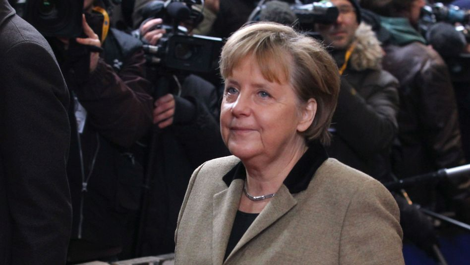 German Chancellor Angela Merkel at the EU summit in Brussels on Monday.