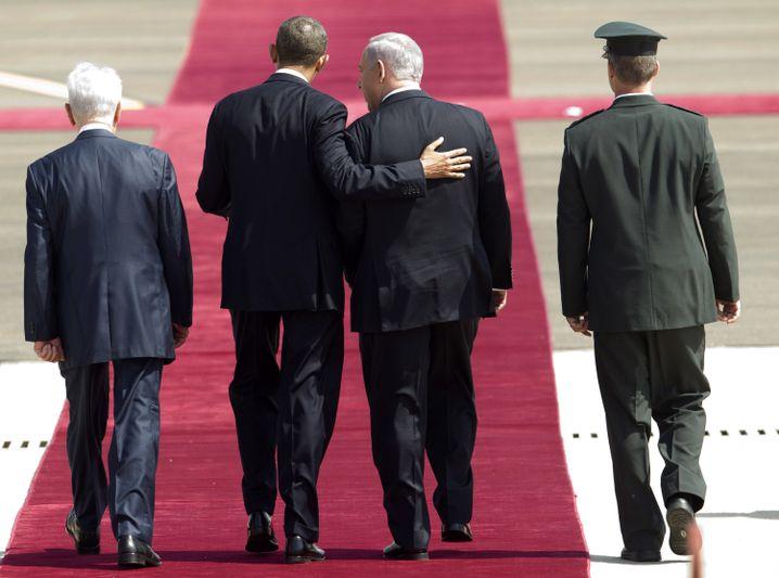 März 2013: Netanyahu empfängt Obama am Flughafen Ben Gurion