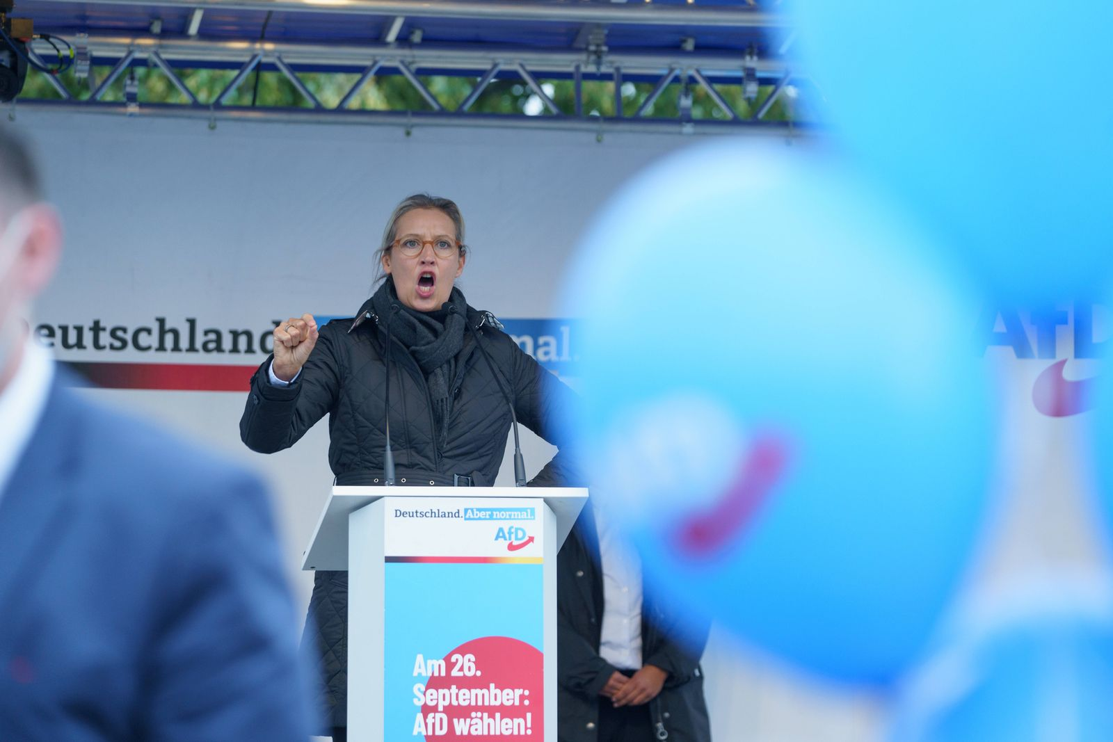 Wahlkampfabschluss der AfD in Berlin zur Bundestagswahl 2021 vor dem Schloss Charlottenburg - Alice Weidel, Spitzenkand