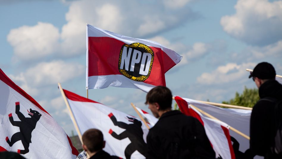 NPD supporters taking part in a demonstration in Berlin last summer.