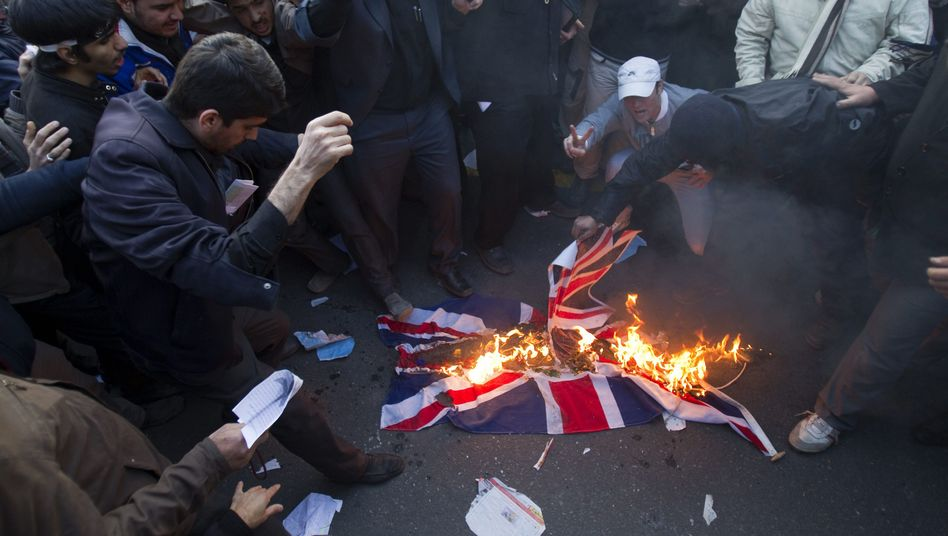 Protesters in front of the British Embassy in Tehran on Nov. 29