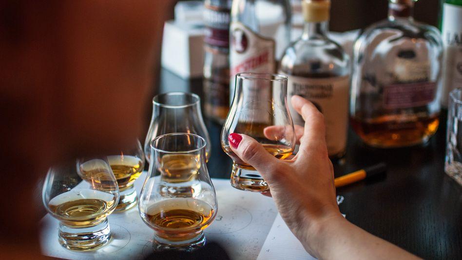 Whiskykonsumentin bei einer Verkostung
