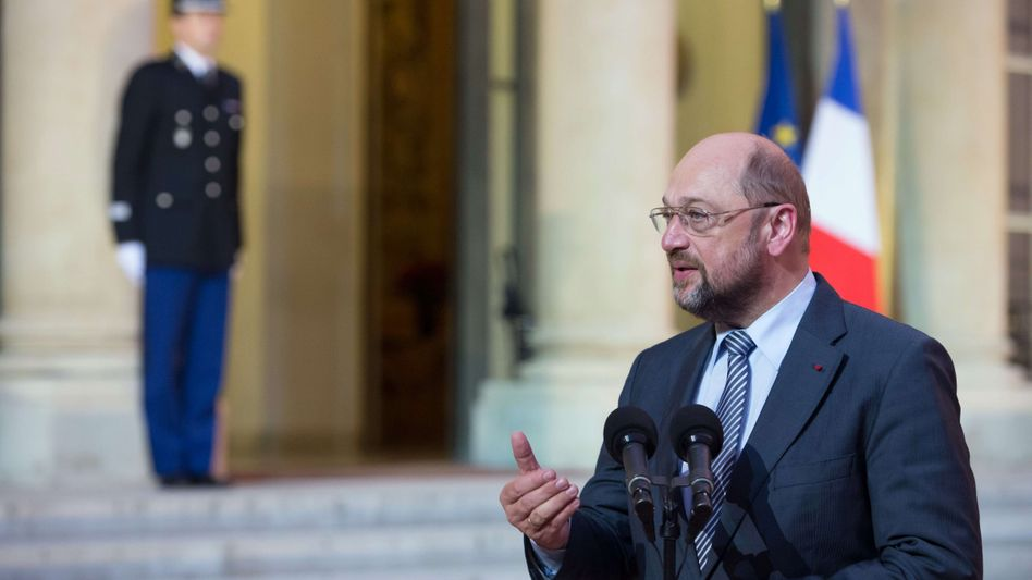 European Parliament President Martin Schulz speaking to journalists after meeting French President François Hollande on Monday.