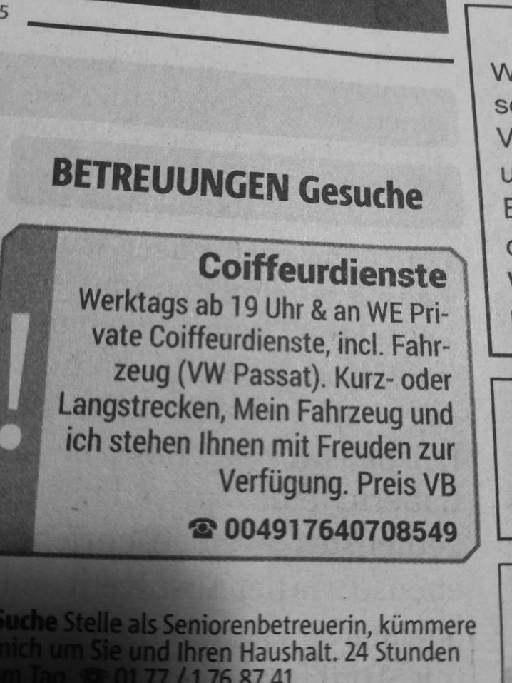 Eine Anzeige in der »Rheinischen Post«