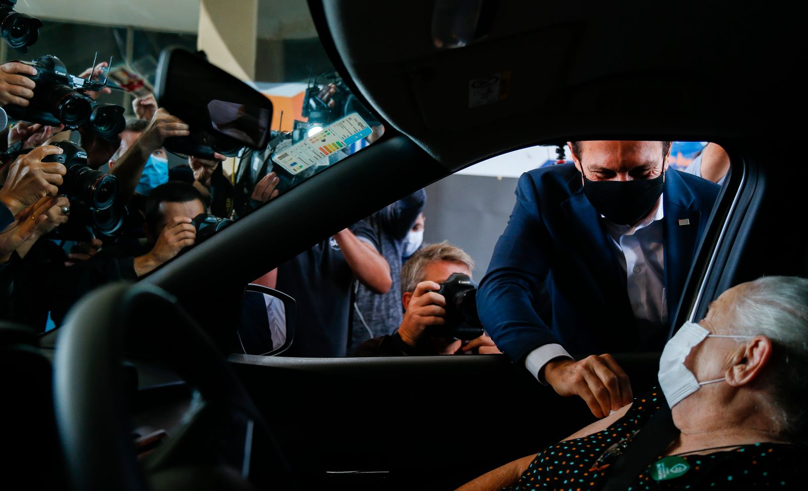 Sao Paulo Governor Joao Doria Participates in the Opening of the Drive Thru Vaccination System Against the Coronavirus (COVID -19)
