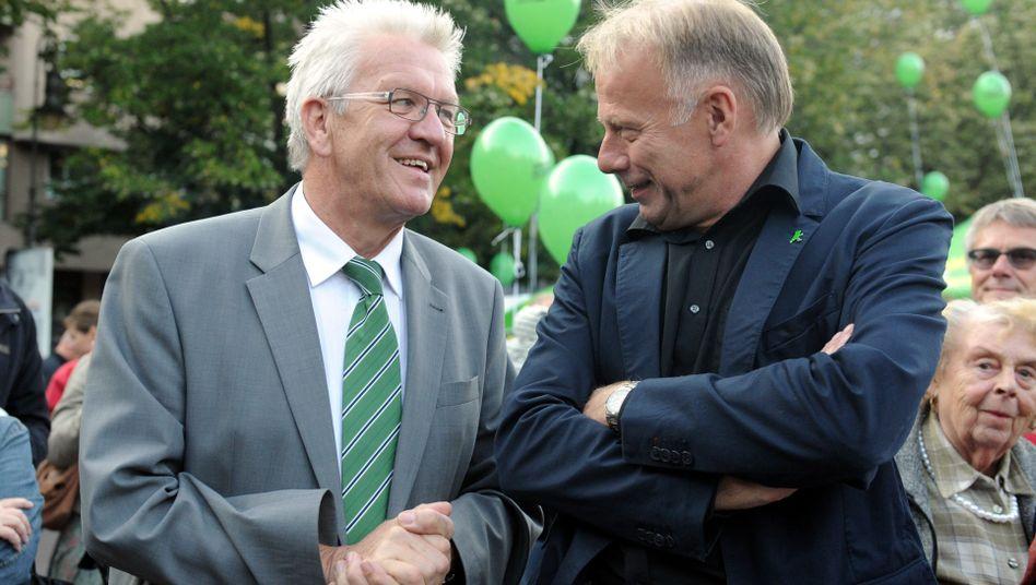Grüne Spitzenleute Kretschmann, Trittin: Kein Konsens über die roten Linien
