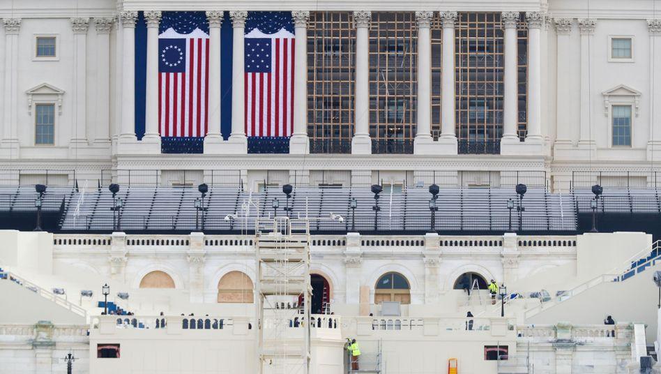 Vor dem Kapitol in Washington werden Vorbereitungen für die Amtseinführung von Joe Biden getroffen