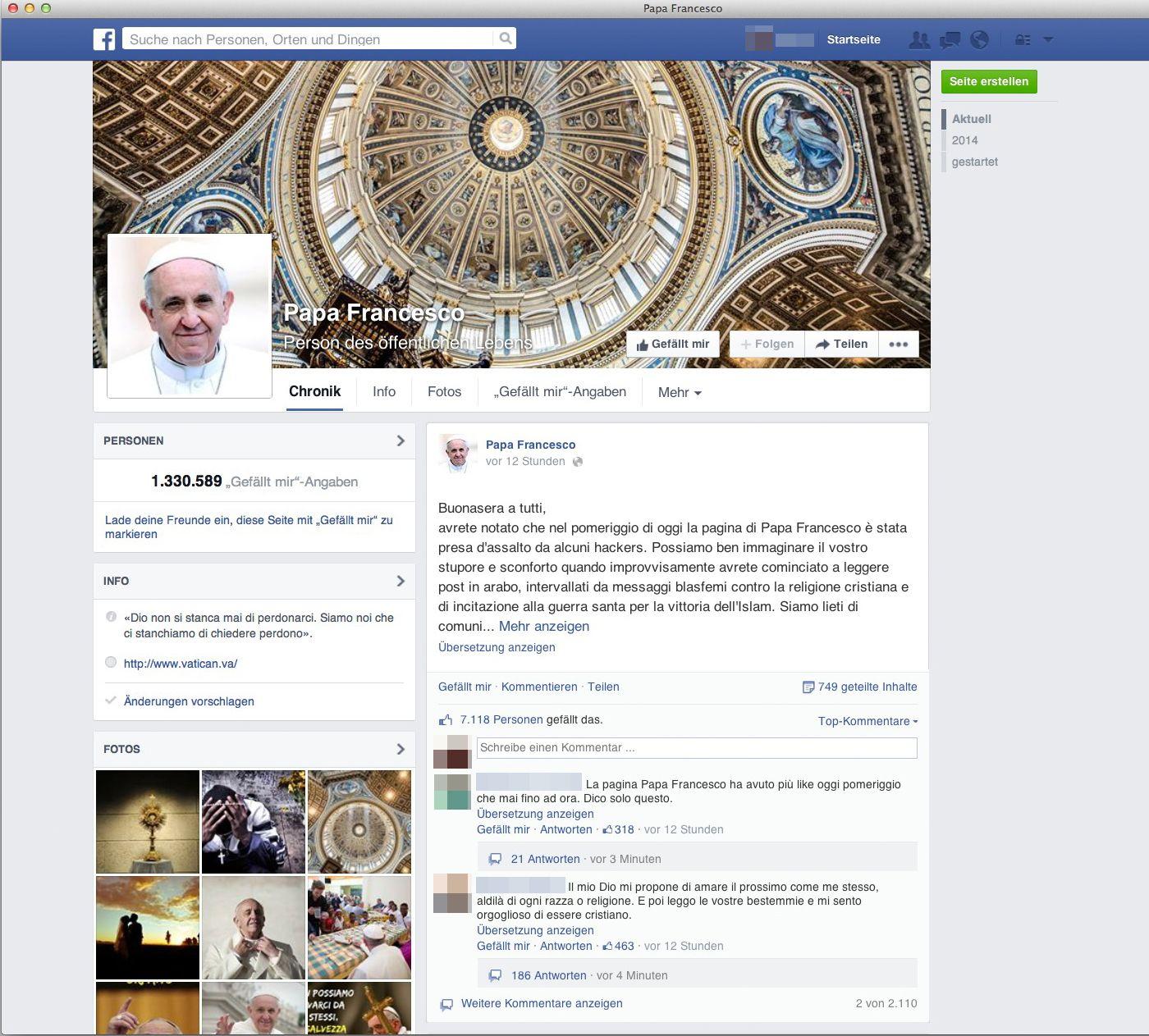 EINMALIGE VERWENDUNG SCREENSHOT/ Papst/ Franziskus/ Facebook