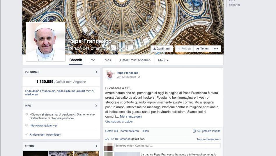 """Facebook-Seite """"Papa Francesco"""": """"Eine wahre Invasion"""""""