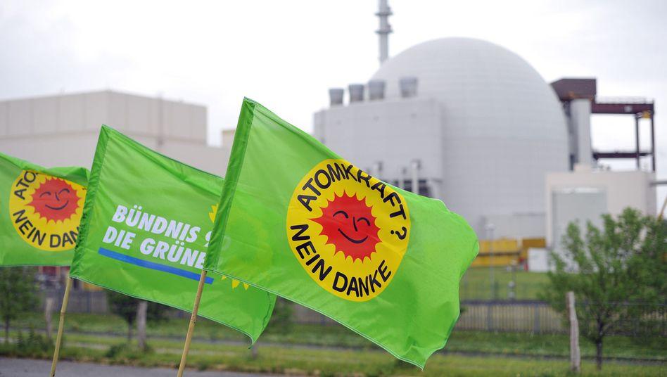 Parteifahne mit Anti-Atomkraft-Logo: Rückenwind für die Grünen dank Energiewende