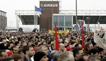 """Airbus-Protesttag in Hamburg (im Februar): """"Man muss sich Sorgen machen"""""""
