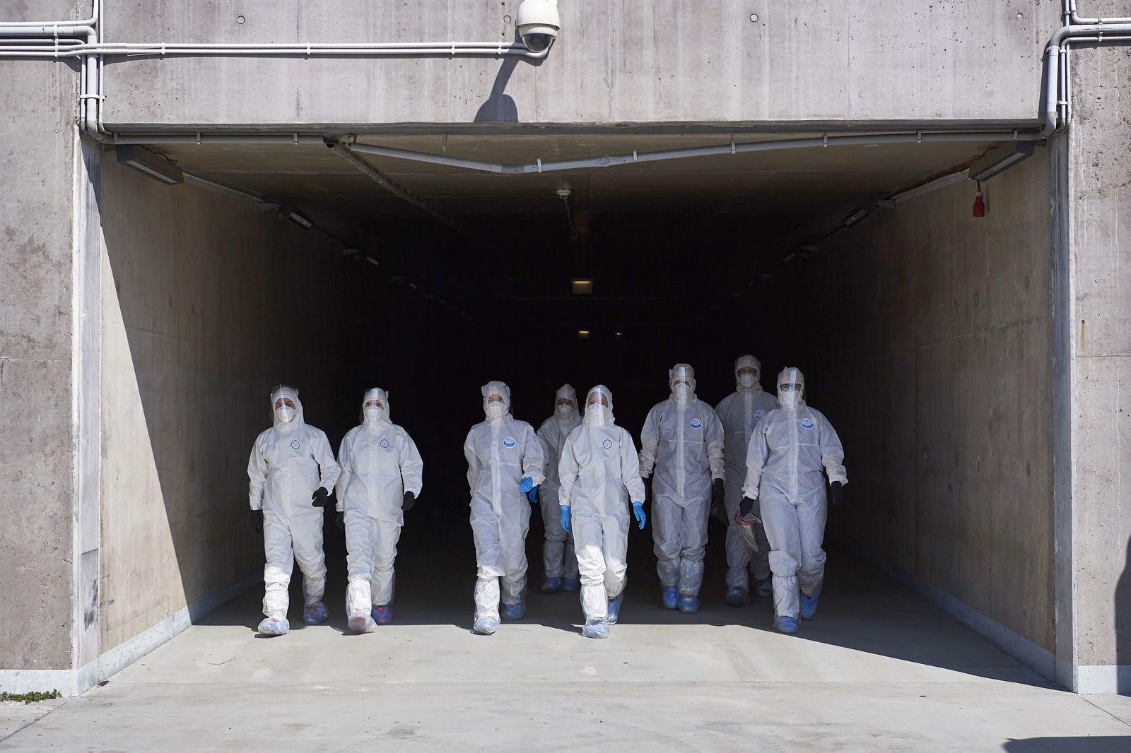 Drive-thru COVID-19 testing lab in Gdansk, Poland - 27 Apr 2020