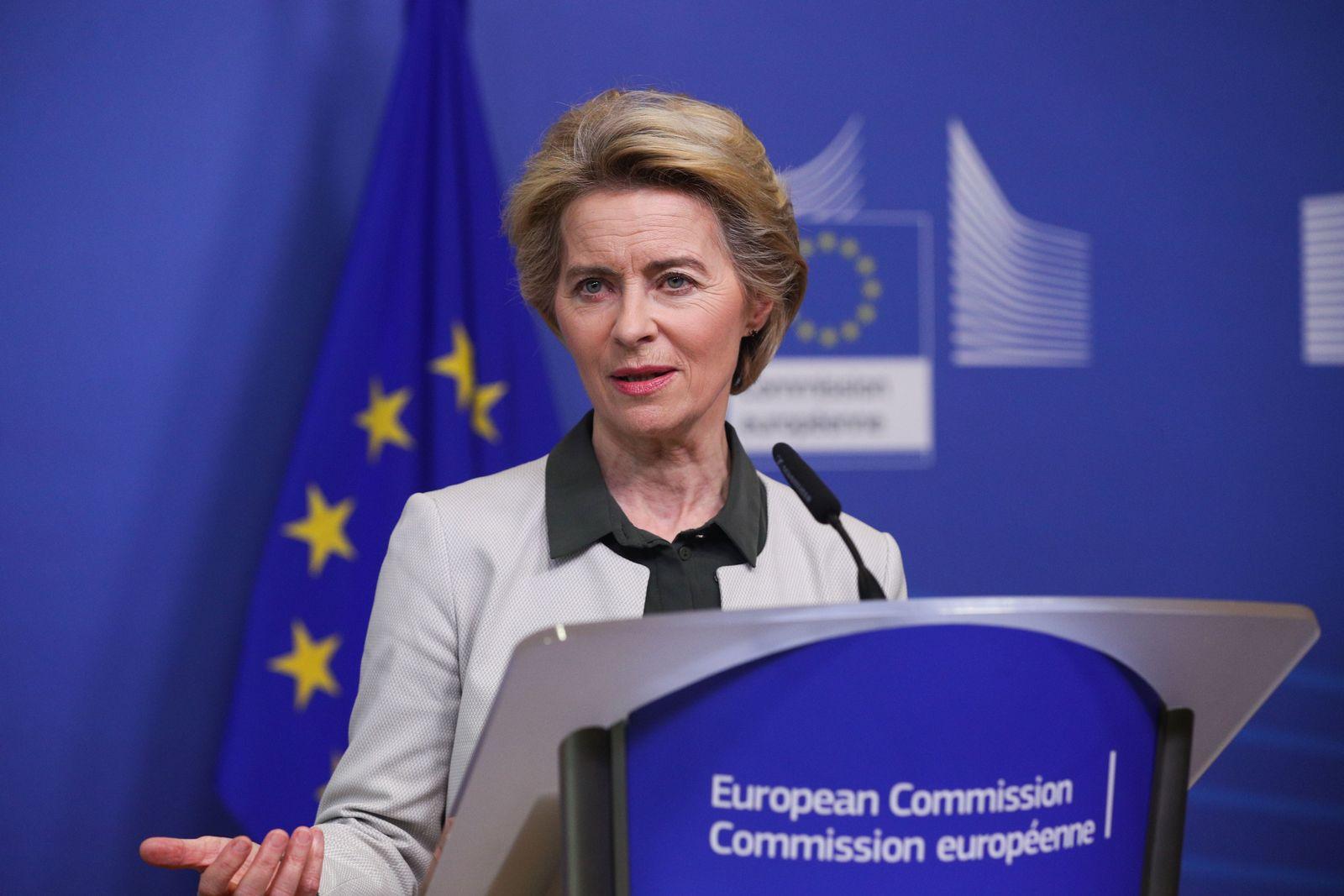 (191212) -- BEIJING, Dec. 12, 2019 -- European Commission President Ursula von der Leyen delivers a press statement on t
