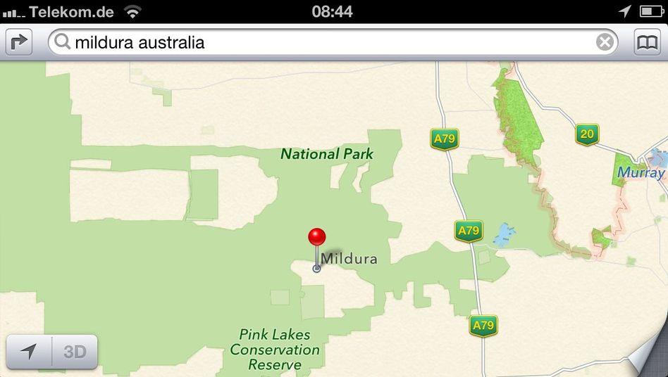 Apple-Karte: Dort ist ein Nationalpark, aber keine 30.000-Einwohner-Stadt