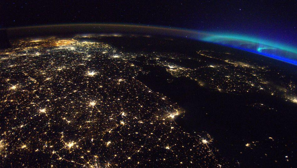 Europa mit Aurora Borealis