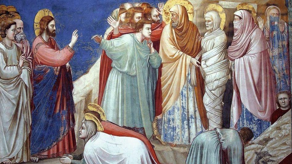 Jesus erweckt Lazarus von den Toten Fresko von Giotto in der Scrovegni-Kapelle in Padua, 1305