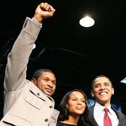 Obama (r.) mit Sänger Usher, Schauspielerin Kerry Washington: Wer überzeugt die schwarzen Wähler?