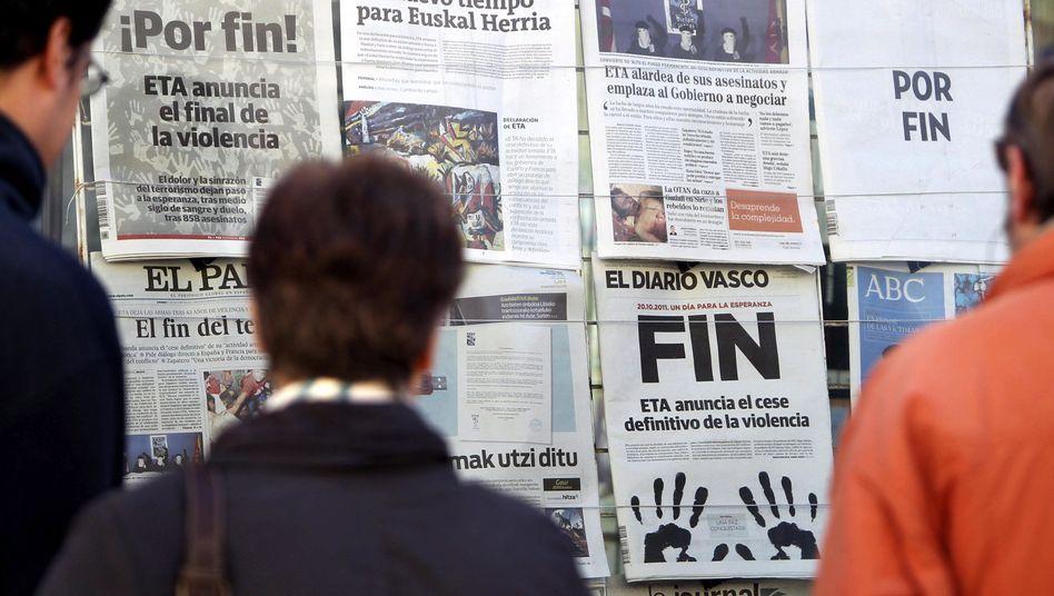 Zeitungen in Spanien: Freude über Friedenserklärung der Eta