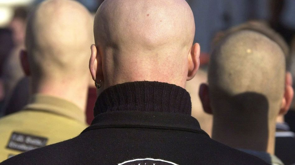 Far-right skinheads are seen in this archive photo from 2001.