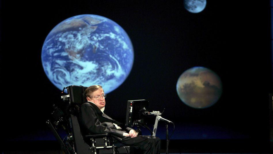 Stephen Hawking bei einer Konferenz 2008