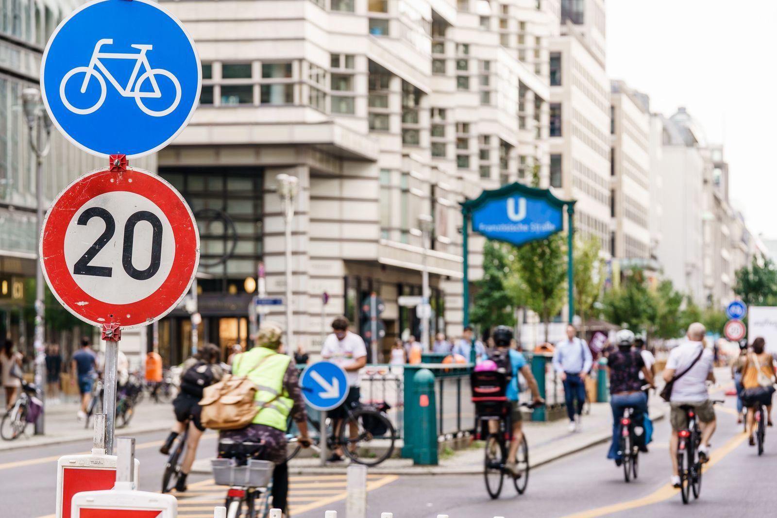 Traffic-reduced Friedrichstrasse shopping street in Berlin, Germany - 16 Sep 2020