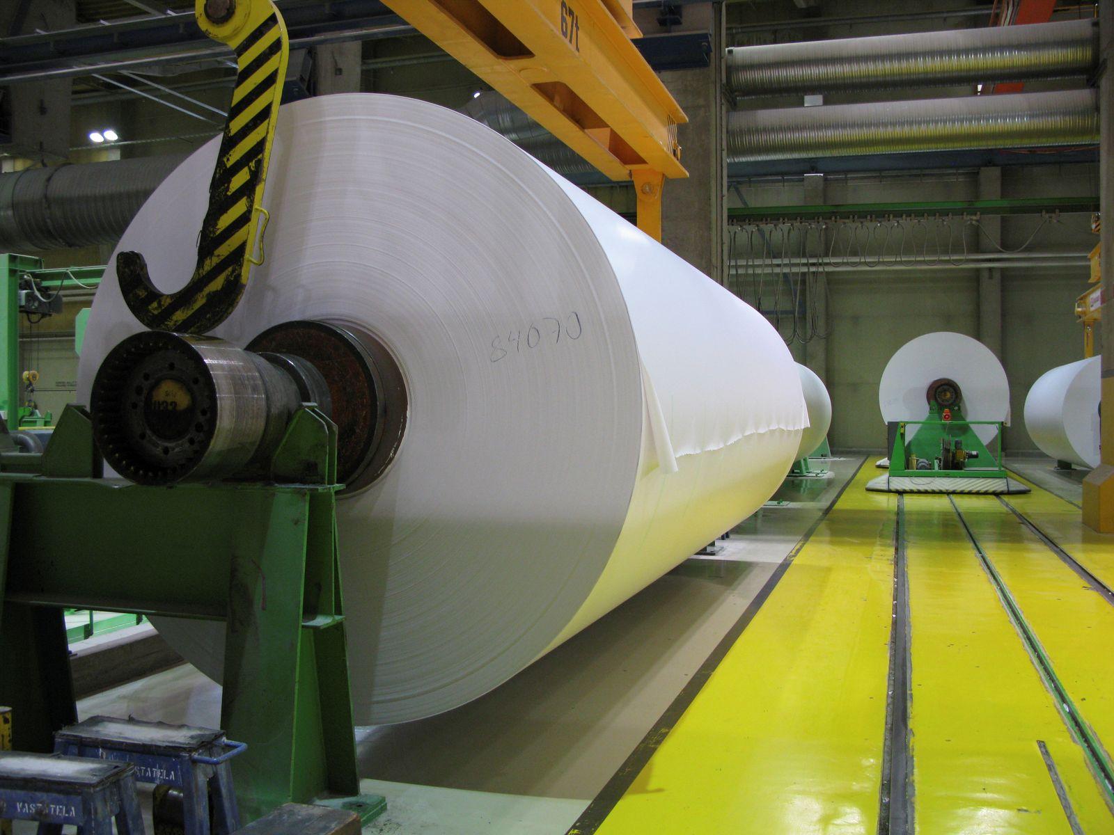 Magazine paper rolls are seen at UPM-Kymmene's paper mill in Kaukas, Lappeenranta