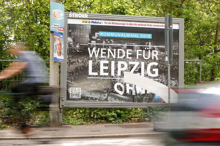 AfD-Wahlplakat in Leipzig: Umdeutung der Geschichte