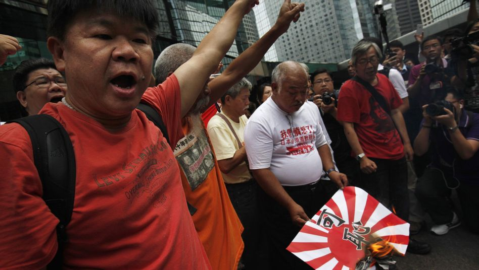 "Antijapanische Demonstranten in Hongkong: ""Die Diaoyu-Inseln gehören zu China."""