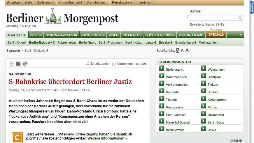 """Paid Content: """"Morgenpost.de"""" und """"Abendblatt.de"""" verlangen Geld für Regionalnachrichten"""