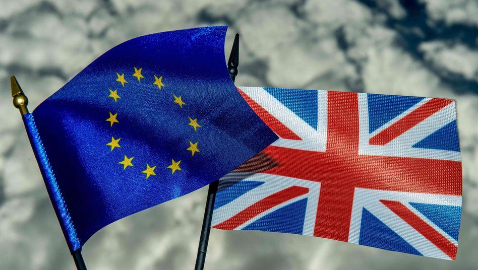 Fahne Europas und von Großbritannien