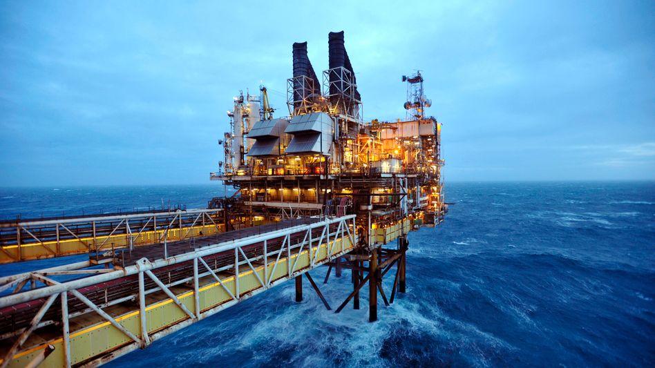 Ölplattform in der Nordsee vor Aberdeen (im Februar 2014)
