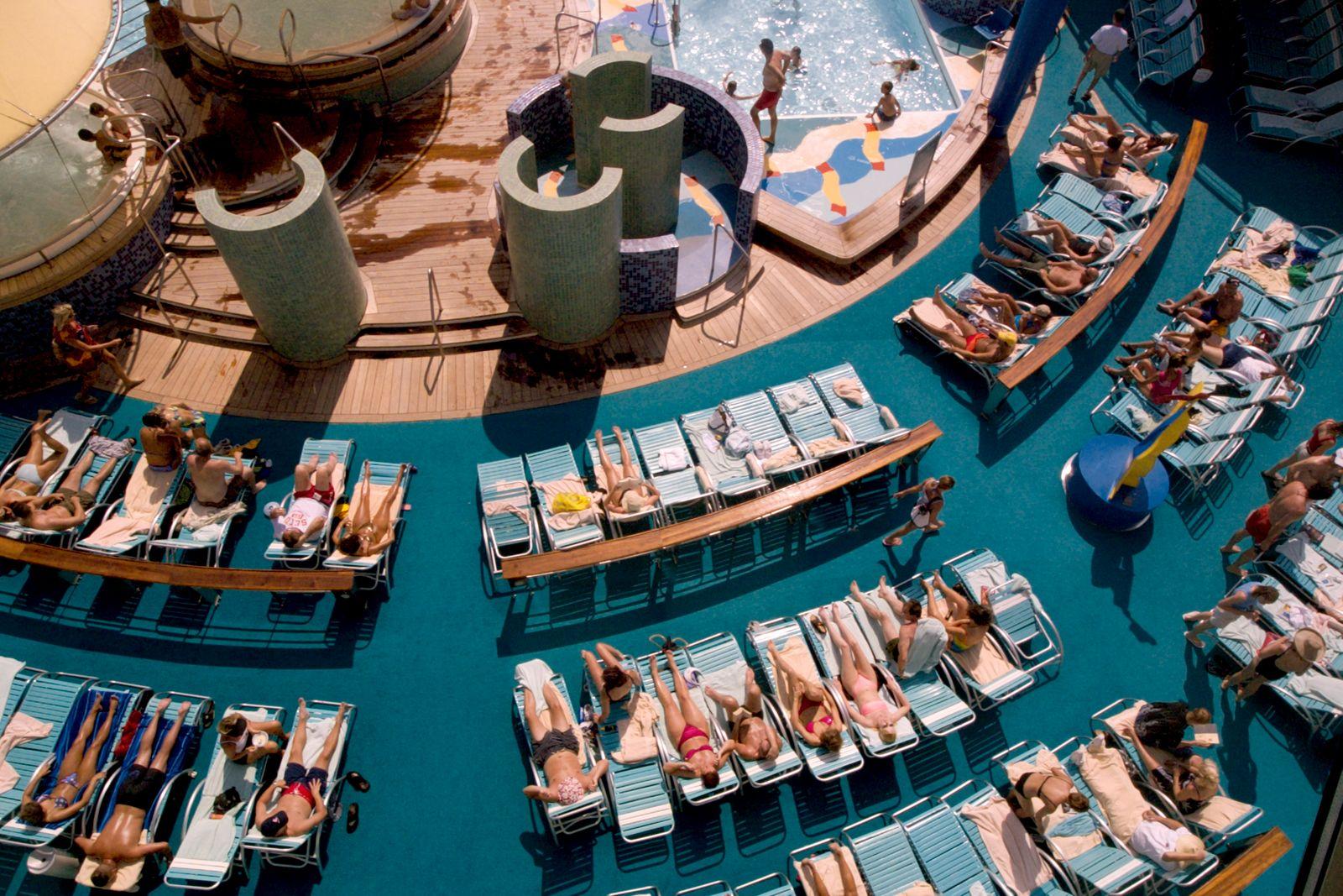 Sunbathers on Cruise Ship Deck
