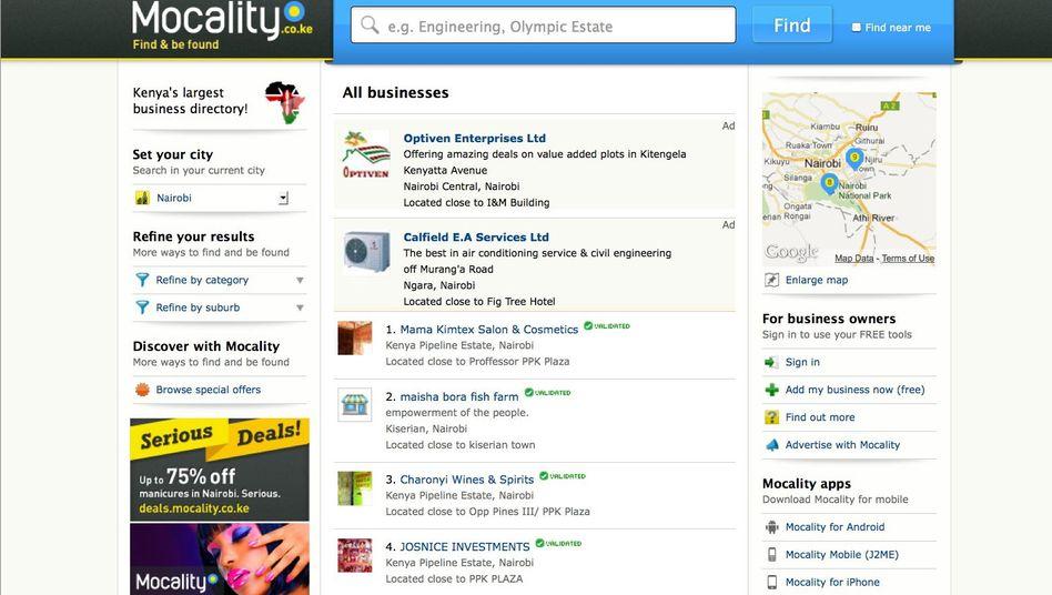 Screenshot der Internetseite www.mocality.co.ke: Gefragtes Firmenverzeichnis
