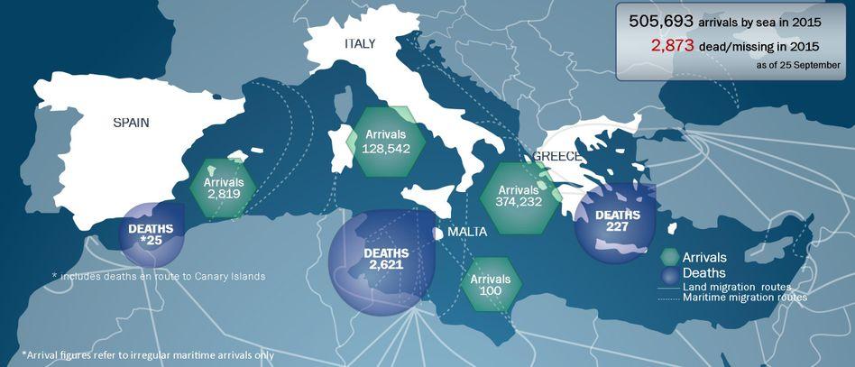 Grafik der Internationalen Organisation für Migration: 3000 Flüchtlinge ertranken allein 2015 bislang im Mittelmeer