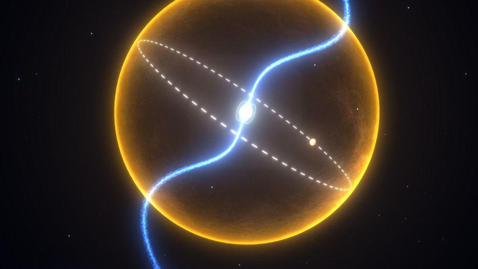 Pulsar und Planet (grafisch): Gelber Kreis markiert Größe unserer Sonne zum Vergleich