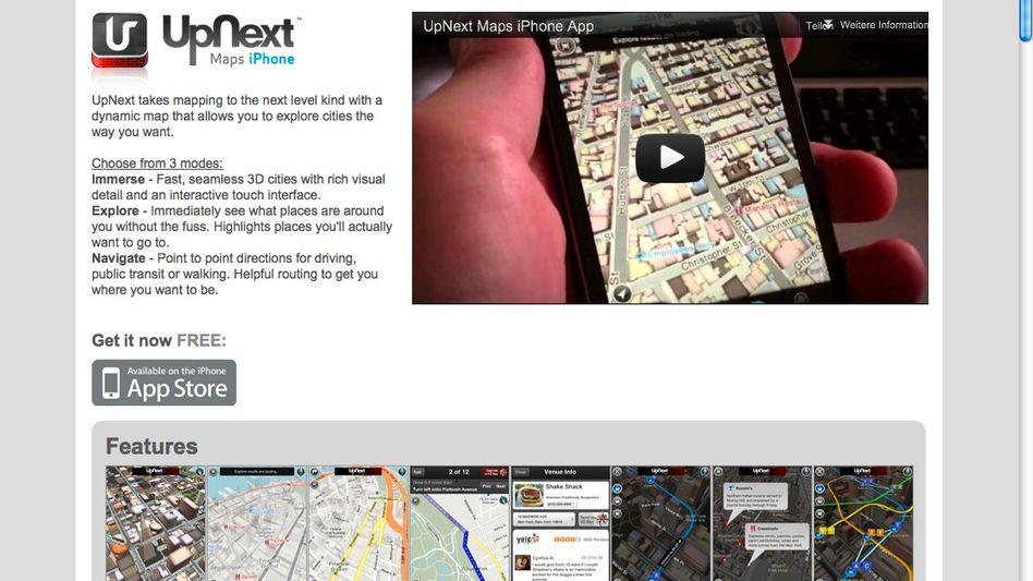 Produktseite von UpNext (Screenshot): Der 3-D-Stadtführer erinnert eher an ein Computerspiel