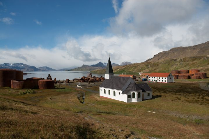 Kirche in verlassener Siedlung Grytviken
