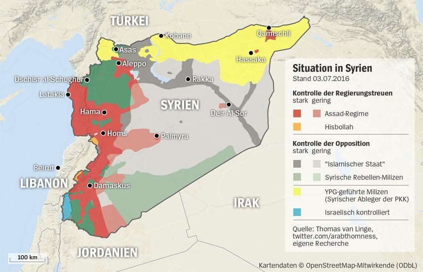 Grafik Karte Syrien - Stand 03.07.2016