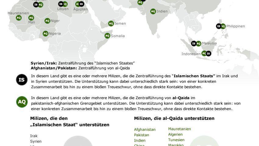 """Dschihadisten in aller Welt: Immer mehr Milizen schwören dem """"Islamischen Staat"""" die Treue (Stand Dezember 2014)"""