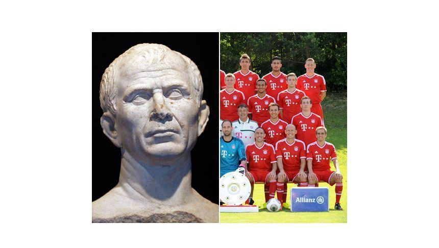 Eine Büste von Julius Cäsar, aufgenommen am 22. Januar 2009 in Marseille. Die Mannschaft des FC Bayern München, aufgenommen am 18. Juli 2013 in München.