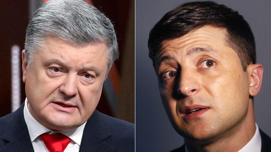 Petro Poroschenko und Wolodymyr Selensky - Konkurrenten in der Stichwahl in der Ukraine