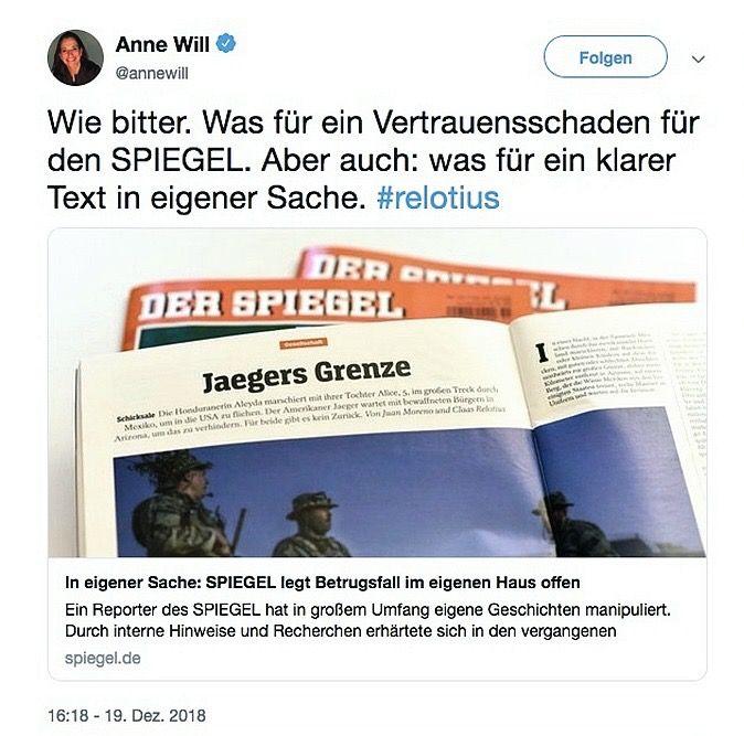 SPIEGEL 52/2018 Relotius / Twitter Anne Will
