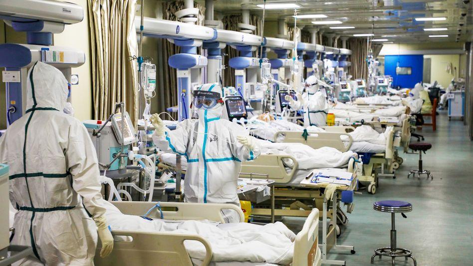 Am Anfang der Pandemie in Wuhan: In der chinesischen Metropole waren die Intensivstationen voll (Foto von Februar 2020)