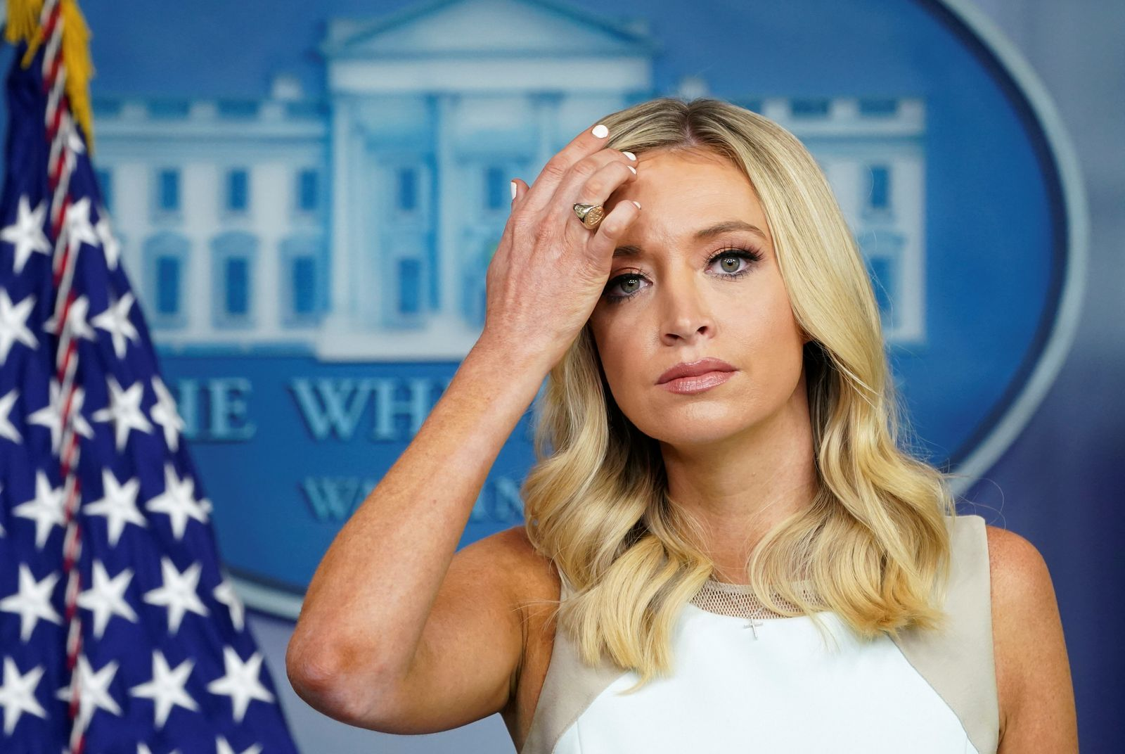 Kayleigh McEnany holds a press briefing at the White House in Washington