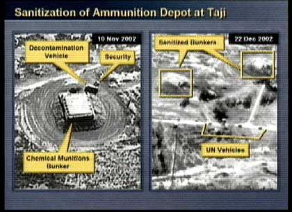 """Angebliche Beweise für """"Aktivität"""" der Chemie-Bunker: Die beiden Objekte rechts oben sollen ein Entseuchungs-Fahrzeug und eine Sicherheitseinrichtung sein. Rechts: """"Gereinigte"""" Bunker bei der Ankunft der Inspektoren"""